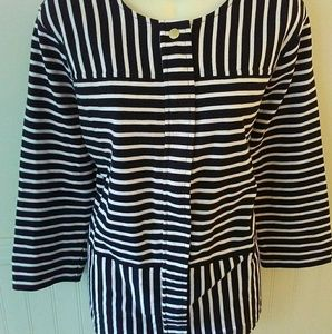 C Wonder QVC Zip Stripe Blouse Plus Size 20W